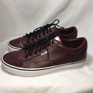 Vans leather sneakers burgundy 7 eyelet men's 9.5